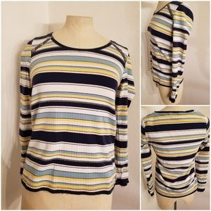 Anthropologie Postmark Striped Top Sz S Ripped